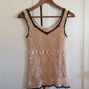 Glimmer crocheted tank top lined small